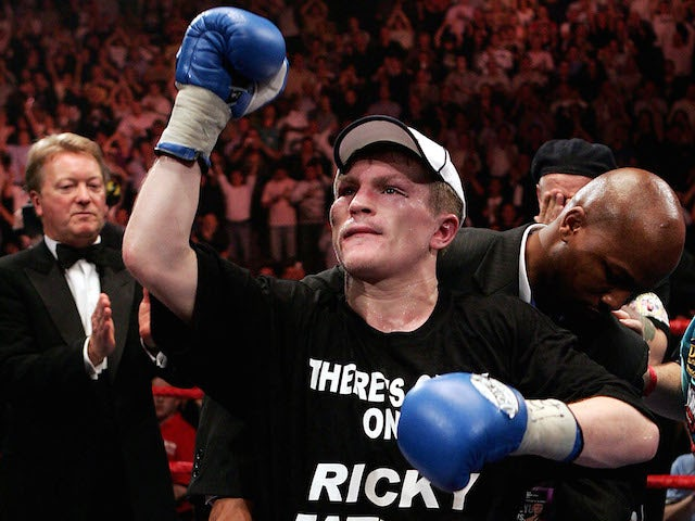 Ricky Hatton wins the belt from Kostya Tszyu during the IBF light welterweight title fight at the MEN Arena on June 4, 2005