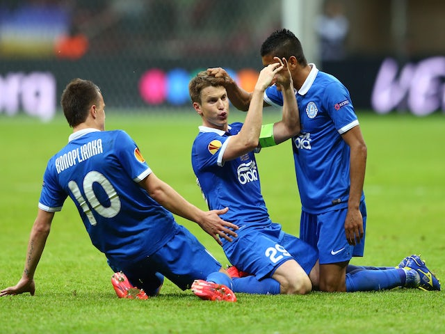 Ruslan Rotan (C) of Dnipro celebrates scoring his team's second goal with team mates during the UEFA Europa League Final match between FC Dnipro Dnipropetrovsk and FC Sevilla on May 27, 2015
