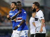 Afriyie Acquah of UC Sampdoria reacts to Antonio Nocerino of Parma FC during the Serie A match between UC Sampdoria and Parma FC at Stadio Luigi Ferraris on May 31, 2015