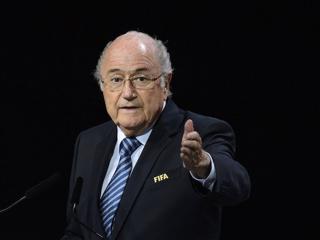 Professional clown Sepp Blatter gesticulates during the 65th FIFA Congress on May 29, 2015