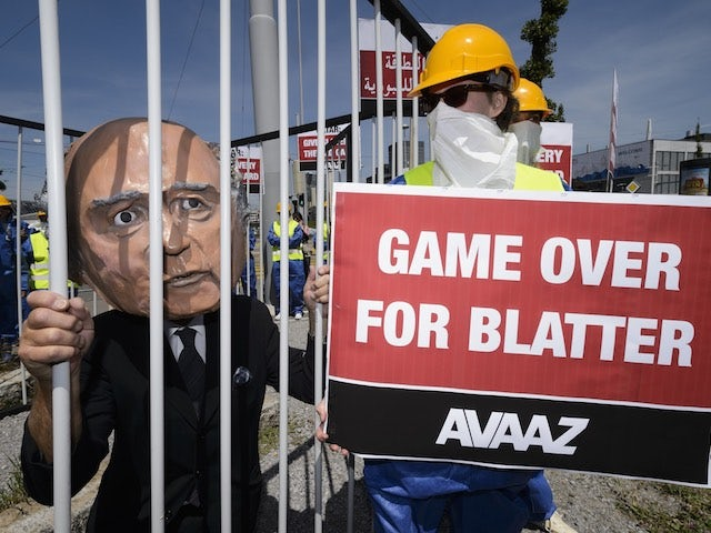 A concerned Sepp Blatter is jailed during the 65th FIFA Congress on May 29, 2015