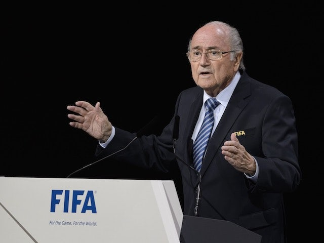Sepp Blatter delivers a speech ahead of the FIFA presidency vote on May 29, 2015