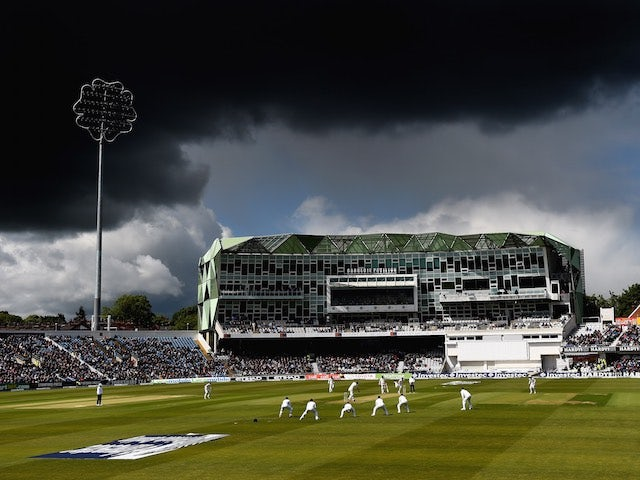 Storm clouds gather at Headingley on day one of the Second Test between England and New Zealand on May 29, 2015