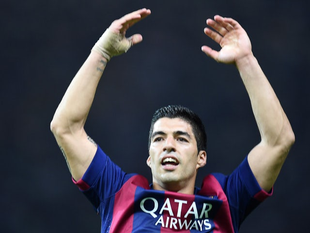 Barcelona's Uruguayan forward Luis Suarez celebrates after scoring the 1-2 during the UEFA Champions League Final football match between Juventus and FC Barcelona at the Olympic Stadium in Berlin on June 6, 2015