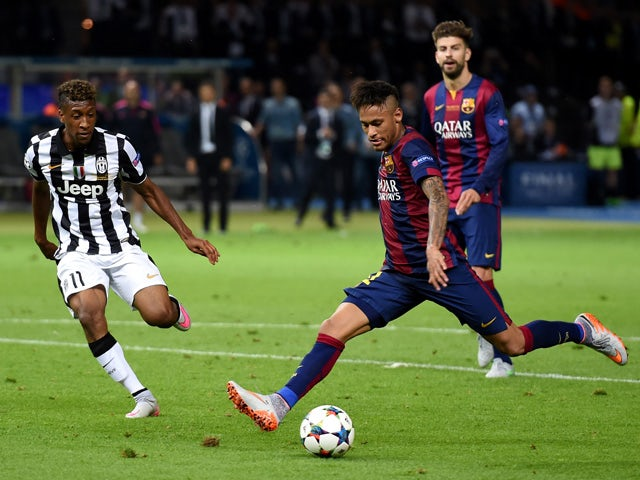 Neymar of Barcelona scores his team's third goal during the UEFA Champions League Final between Juventus and FC Barcelona at Olympiastadion on June 6, 2015