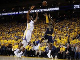 LeBron James of the Cleveland Cavaliers takes a shot during game one of the NBA Finals at Oracle Arena on June 4, 2015