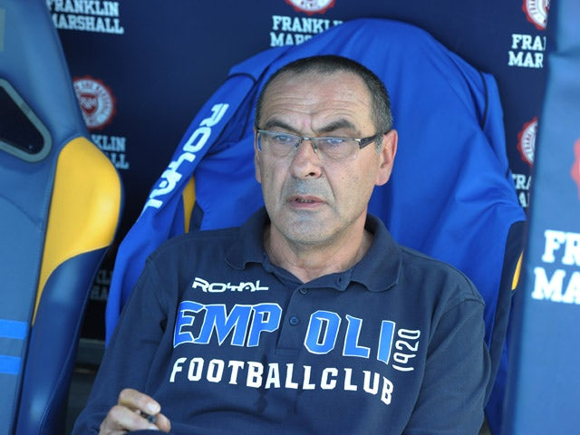 Head coach of Empoli Maurizio Sarri looks on during the Serie A match between Hellas Verona FC and Empoli FC at Stadio Marc'Antonio Bentegodi on May 17, 2015