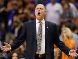 Head coach Michael Malone of the Sacramento Kings reacts during the NBA game against the Phoenix Suns at US Airways Center on November 7, 2014