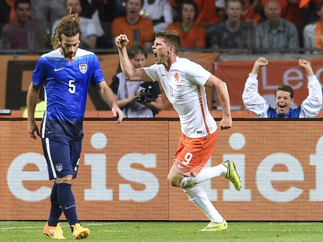 Netherlands' forward Klaas-Jan Huntelaar celebrates after scoring a goal during the Friendly football match between the Netherlands and USA on June 5, 2015