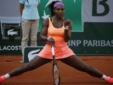 US player Serena Williams reacts during her match against Switzerland's Timea Bacsinszky during their women's semi-final match of the Roland Garros 2015 French Tennis Open in Paris on June 4, 2015