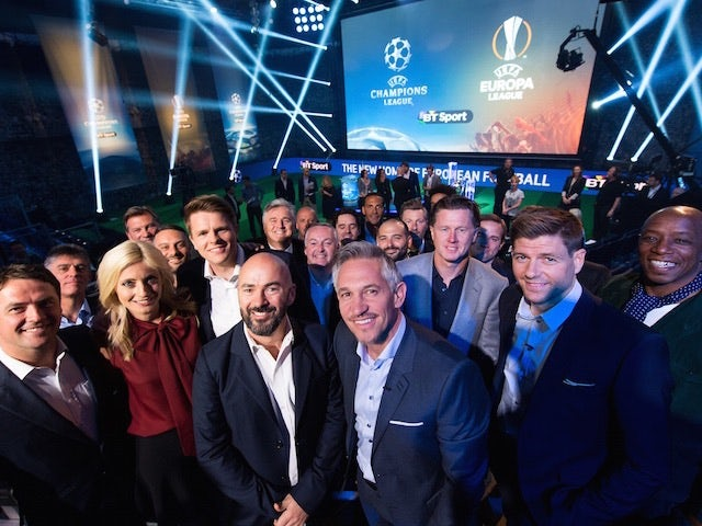 The lineup for BT Sport's European coverage pose for a selfie at the London studios on June 9, 2015