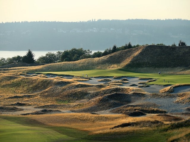 A general view of Chambers Bay golf course in Washington on August 12, 2014