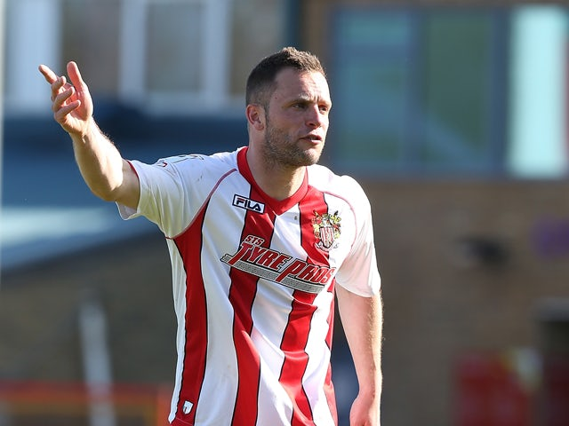 Chris Beardsley of Stevenage in action during the Sky Bet League Two match between Stevenage and Northampton Town at the Lamex Stadium on April 11, 2015