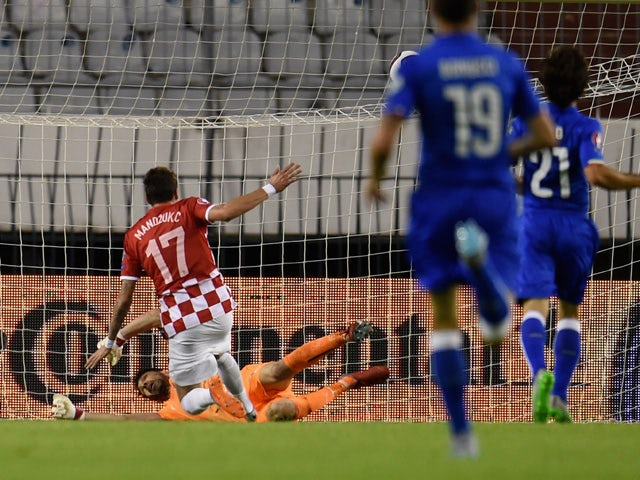 Mario Mandzukic of Croatia #17 scores the opening goal during the EURO 2016 Group H Qualifier between Croatia and Italy on June 12, 2015