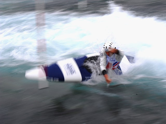 David Florence of Team GB trains in the C1 at Lee Valley White Water Centre on April 25, 2012
