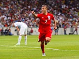 Jack Wilshere of England celebrates scoring their second goal during the UEFA EURO 2016 Qualifier between Slovenia and England on at the Stozice Arena on June 14, 2015