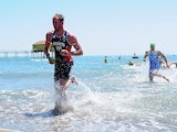 Team GB triathlete Gordon Benson exits the water on his way to winning gold at the European Games on June 14, 2015