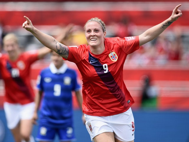 Isabell Herlovsen of Norway celebrates as she scores their third goal during the FIFA Women's World Cup Canada 2015 Group B match between Norway and Thailand at Lansdowne Stadium on June 7, 2015