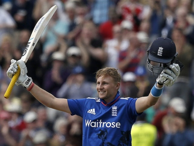 England batsman Joe Root celebrates scoring a century during the first one-day international (ODI) cricket match between England and New Zealand at Edgbaston cricket ground, in Birmingham, central England on June 9, 2015