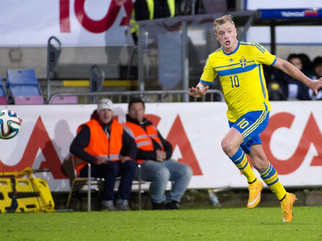 John Guidetti of Sweden in action during the UEFA Under-21 Championship qualifying match between Sweden and France in Orjans Vall Stadium on October 14, 2014