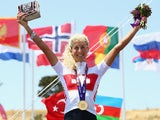 Jolanda Neff of Switzerland celebrates with her gold medal after winning the Womens' Cross-country Mountain Bike Cycling during day one of the Baku 2015 European Games at Mountain Bike Velopark on June 13, 2015
