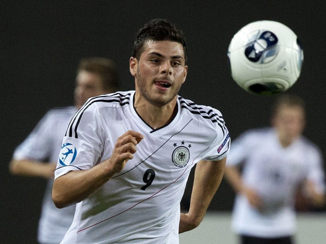 Germany's forward Kevin Volland controls the ball during the 2013 UEFA U-21 Championship group B football match between Germany and Spain in the coastal city of Netanya, north of Tel Aviv, on June 9, 2013
