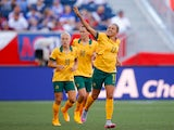 Kyah Simon #17 of Australia celebrates after scoring her second goal past goalkeeper Precious Dede #1 of Nigeria during the FIFA Women's World Cup Canada 2015 match between Australia and Nigeria at Winnipeg Stadium on June 12, 2015