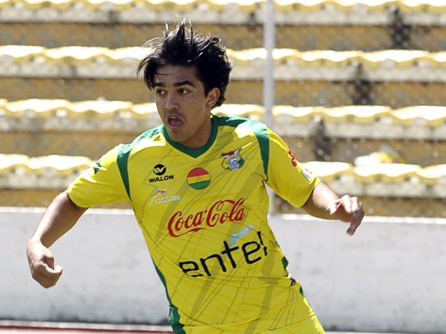 Bolivia's national football team player Marcelo Martins takes part in a training session in La Paz on September 4, 2013