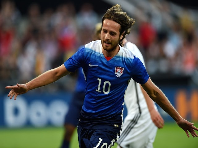 US midfielder Mix Diskerud celebrates scoring during the International friendly football match between Germany and the USA in Cologne, western Germany on June10, 2015