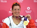 Gold medalist Nicola Spirig of Switzerland poses with her medal following the Women's Triathlon Final during day one of the Baku 2015 European Games at Bilgah Beach on June 13, 2015