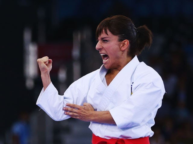 Sandra Sanchez Jaime of Spain competes in the Women's Karate Kata semi finals during day two of the Baku 2015 European Games at Crystal Hall on June 14, 2015