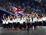Flagbearer and boxer, Nicola Adams of Great Britain leads her team into the stadium during the Opening Ceremony for the Baku 2015 European Games at the National Stadium on June 12, 2015