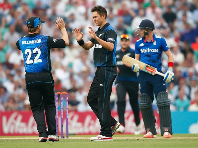 Trent Boult of New Zealand celebrates taking the wicket of Sam Billings ofEngland during the 2nd ODI Royal London One-Day Series 2015 at The Kia Oval on June 12, 2015