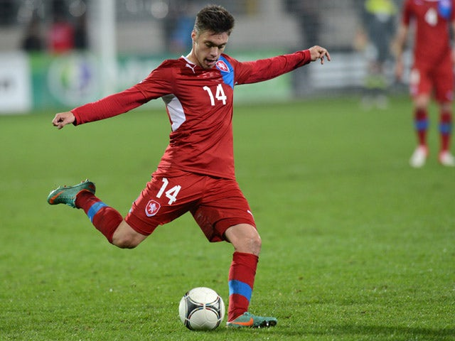 Vaclav Kadlec of Czech Republic in action during the UEFA European Under-21 Championship play-off second leg match between Russia and Czech Republic held on October 16, 2012