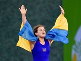 Alina Stadnik Makhynia of Ukraine celebrates victory in the Women's Freestyle 69kg Wrestling Final during day three of the Baku 2015 European Games at Heydar Aliyev Arena on June 15, 2015