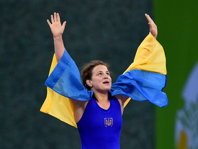 Alina Stadnik Makhynia of Ukraine celebrates victory in the Women's Freestyle 69kg Wrestling Final during day three of the Baku 2015 European Games at Heydar Aliyev Arena on June 15, 2015