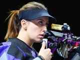Andrea Arsovic of Serbia competes in the Womens 10m Air Rifle during day four of the Baku 2015 European Games at Baku Shooting Centre on June 16, 2015