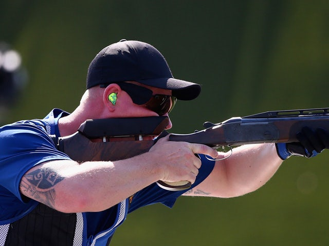 Andreas Loew of Germany shoots in the Men's Double Trap Shooting final during day seven of the Baku 2015 European Games at the Baku Shooting Centre on June 19, 2015