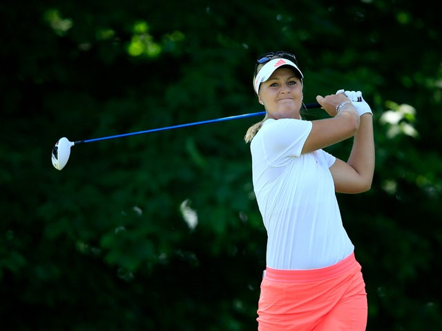 Anna Nordqvist of Sweden plays her tee shot at the par 4, 2nd hole during the final round of the 2015 KPMG Women's PGA Championship on the West Course at Westchester Country Club on June 14, 2015