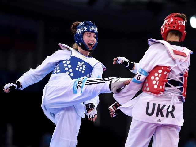 Bianca Walkden of Team GB in action during her quarter-final defeat at the hands of Maryna Konieva at the 2015 European Games in Baku