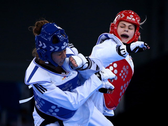 Charlie Maddock of Team GB in action during her women's -84kg quarter-final against Italy's Erica Nicoli at the European Games in Baku
