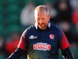 Darren Stevens of Kent Spitfires (R) celebrates with Adam Riley of Kent Spitfires after taking the wicket of Kumar Sangakkara of Surrey during the NatWest T20 Blast match between Kent and Surrey at The County Ground on May 29, 2015