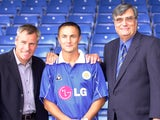 Peter Taylor, Dennis Wise and Chairman John Elsom of Leicester City after the press conference called to anounce his transfer, pictured at the Filbert St ground, Leicester on June 25, 2001
