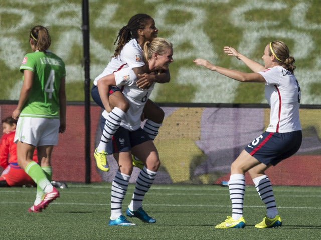 France's Elodie Thomis (L), Amandine Henry (C) and Sabrina Delannoy celebrate Henry's goal against Mexico during their 2015 FIFA Women's World Cup Group F football match at Lansdowne Stadium in Ottawa, Ontario on June 17, 2015