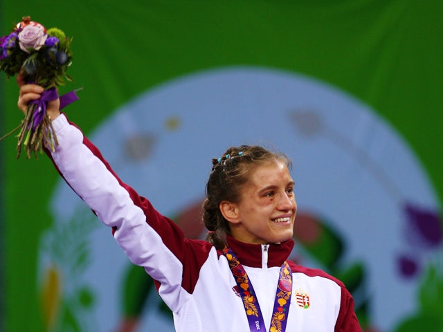 Gold medalist Emese Barka of Hungary celebrates with the medal won in the Women's Wrestling 58kg Freestyle final during day four of the Baku 2015 European Games at Heydar Aliyev Arena on June 16, 2015