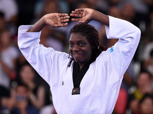Gold medalist Gwladys Epangue of France stands on the podiumduring the medal ceremony for the Women's +67kg Taekwondo on day seven of the Baku 2015 European Games at the Crystal Hall on June 19, 2015