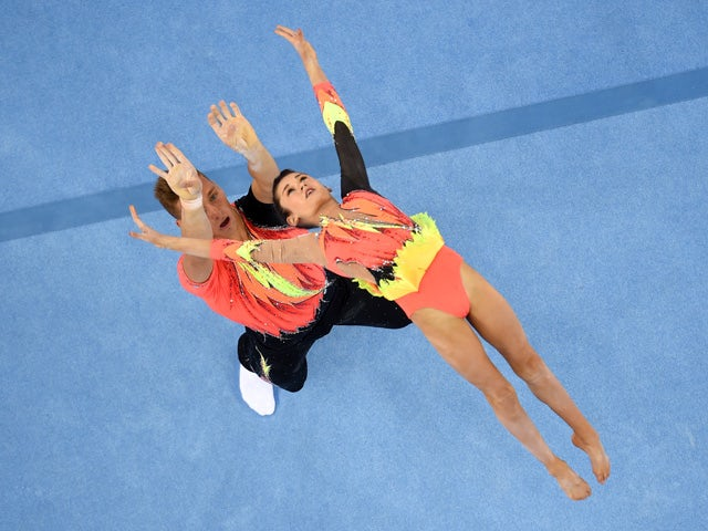 Hannah Baughn and Ryan Bartlett of Great Britain compete in the Gymnastics Acrobatic Mixed Pair - Balance during day five of the Baku 2015 European Games at the National Gymnastics Arena on June 17, 2015