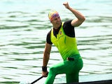 Henrikas Zustautas of Lithuania celebrates after winning in the Canoe Single (C1) 200m Men during day four of the Baku 2015 European Games at Mingachevir on June 16, 2015