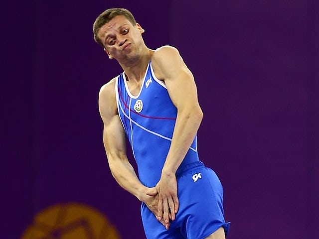 Ilya Grishunin of Azebaijan competes during the Men's Gymnastics Trampoline Individual final on day nine of the Baku 2015 European Games at the National Gymnastics Arena on June 21, 2015