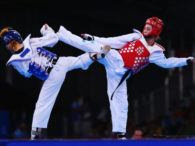 Jade Jones of Team GB in action during her preliminary fight against Despina Pilavaki of Cyprus at the European Games in Baku